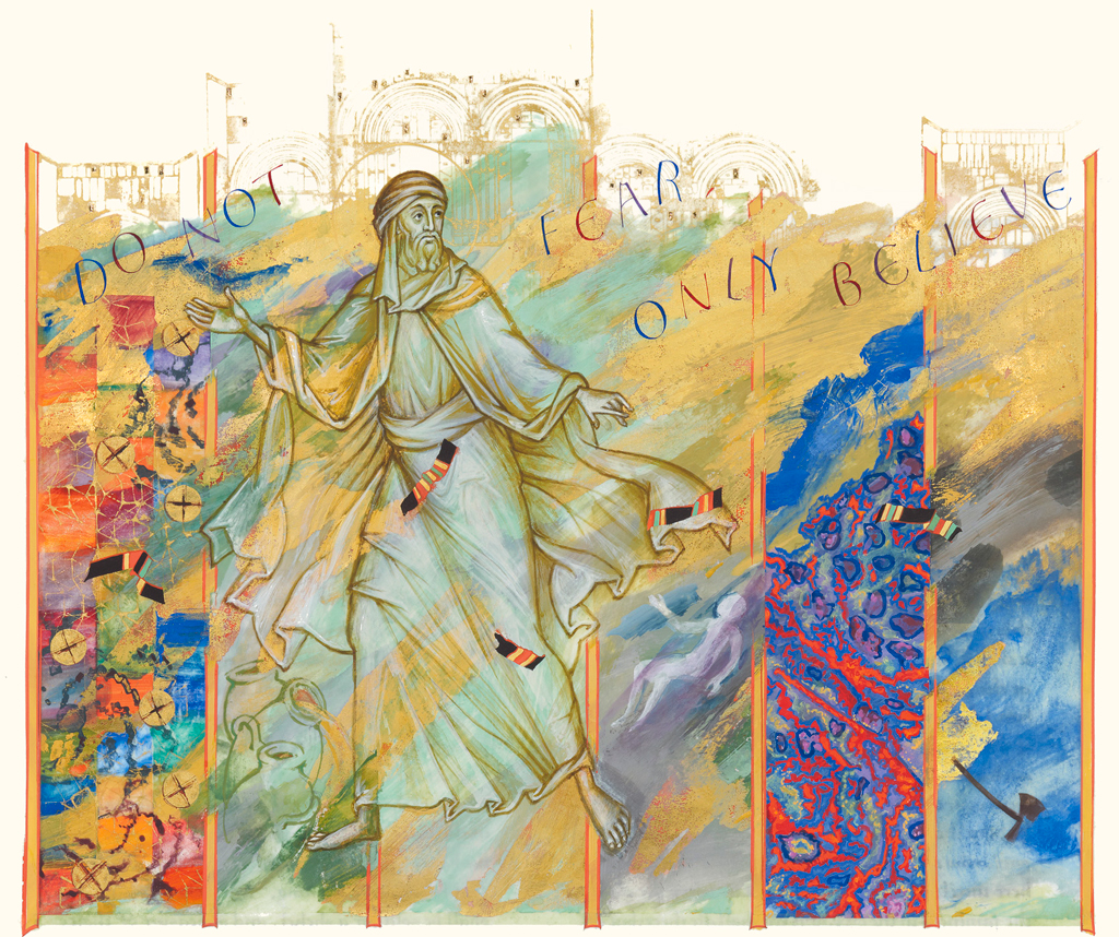 Elisha and the Six Miracles, Donald Jackson in collaboration with Aidan Hart, 2010, The Saint John's Bible, Saint John's University, Collegeville, MN USA